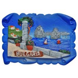 Декоративна фигурка с магнит - морски пейзаж - крайбрежна алея, изработена от полирезин