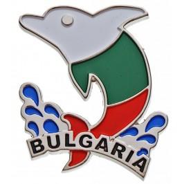 Сувенирна метална фигурка с магнит - делфин и надпис България