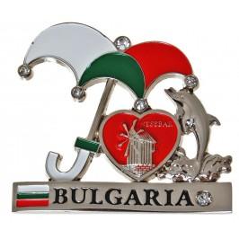Сувенирна метална фигурка с магнит - чадър с делфин, сърце и надпис България
