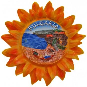 Сувенирна фигурка с магнит - слънце с изглед на морски бряг