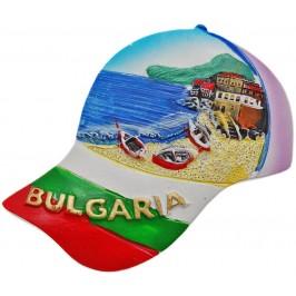 Декоративна гипсова фигурка с магнит - шапка с козирка - морски бряг с три лодки
