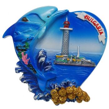 Декоративна магнитна фигурка сърце с делфин - България