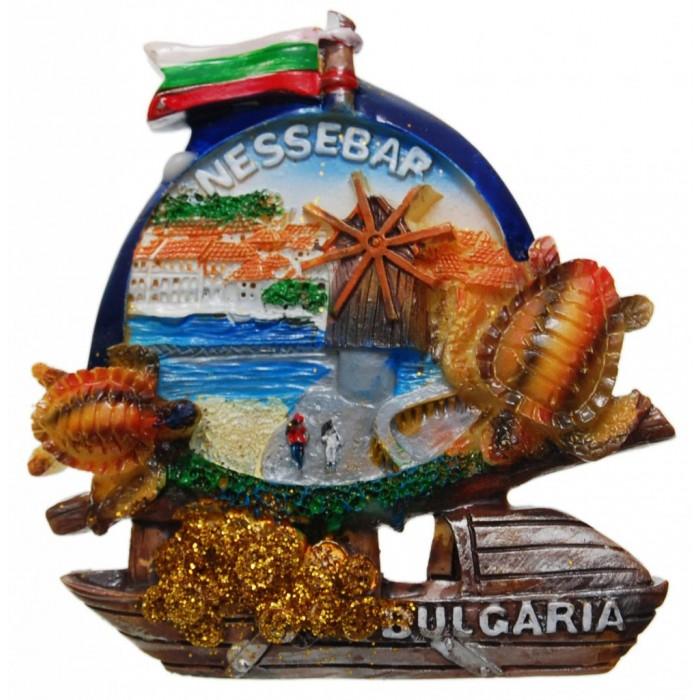 Декоративна гипсова фигурка с магнит - кораб - Провлакът с вятърната мелница в Несебър