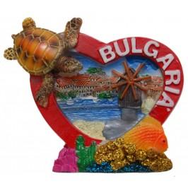 Сувенирна магнитна фигурка сърце с костенурка - Вятърната мелница в Несебър