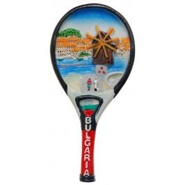 Сувенирна магнитна фигурка тенис ракета - Вятърната мелница в Несебър