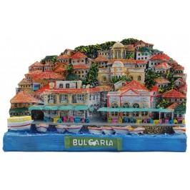Декоративна релефна фигурка - изглед от Черноморието - къщи с алея