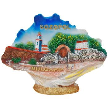 Декоративна релефна фигурка с магнит - мида - забележителности на Созопол