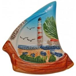 Декоративна гипсова фигурка с магнит - лодка -морски фар