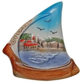 Декоративна гипсова фигурка с магнит - лодка -морски бряг