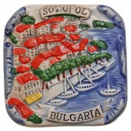 Декоративна фигурка с магнит - морски бряг - Созопол, изработена от полирезин