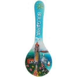 Декоративна фигурка лъжица с магнит - морски бряг с фар и надпис България