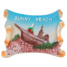 Декоративна гипсова фигурка с магнит - регата и надпис Слънчев бряг