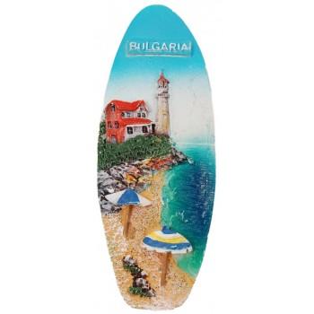 Декоративна фигурка с магнит - сърф - морски бряг с фар