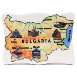 Декоративна порцеланова фигурка - карта на България с шест забележителности на нея
