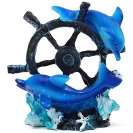 Декоративна фигурка - два делфина върху рул, изработена от полирезин