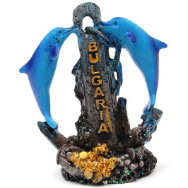 Декоративна фигурка - два делфина около котва, изработена от полирезин