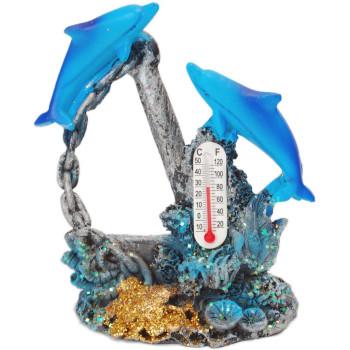 Декоративна фигурка - два делфина с котва и термометър, изработена от полирезин