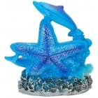 Декоративна фигурка - два делфина на морска звезда и термометър, изработена от полирезин