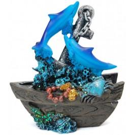 Декоративна фигурка - котва с два делфина и две лодки, изработена от полирезин