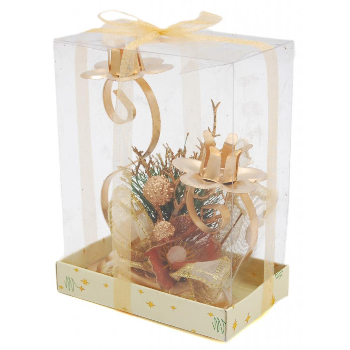 Красив коледен свещник с тематична декорация за две свещи