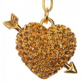 Сувенирен метален ключодържател - златисто сърце със срела, инкрустирано с цветни камъни
