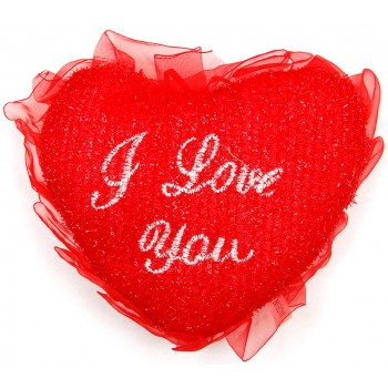 Декоративно сърце за окачване изработено от плюш и нежен тюл с послание
