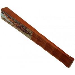 Сувенирно ветрило от дърво и текстил с цветен принт - 23см