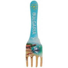 Декоративна фигурка вилица с магнит - морски пейзаж с лодки