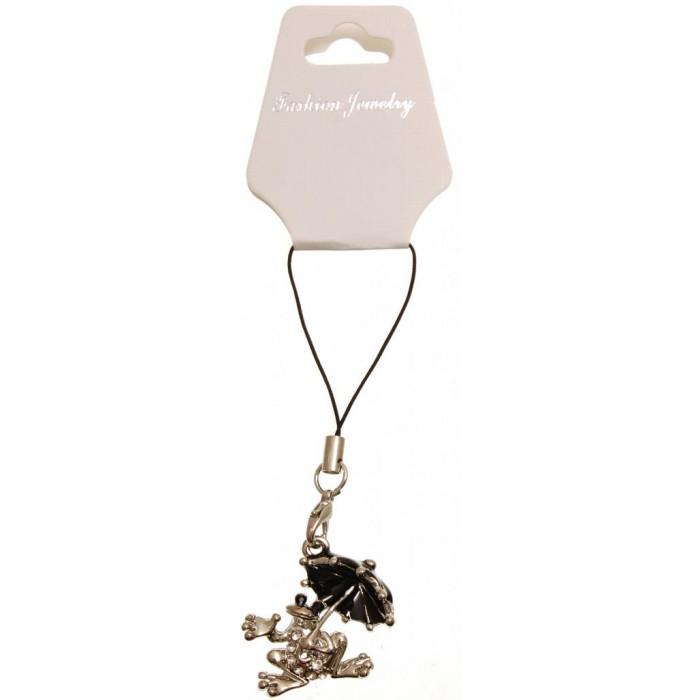 Метален аксесоар за GSM - жаба с чадърче, декорирана с бели камъни