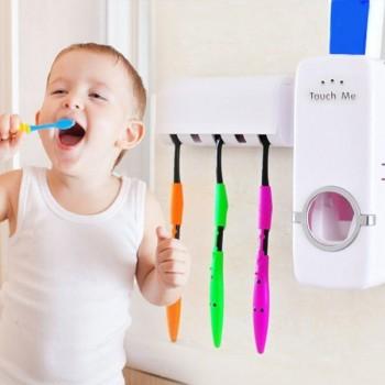 Диспенсър за паста за зъби и поставка за четки