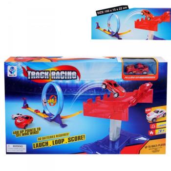 Писта с механизирана изстрелвачка с 1 количка - подарък за вашето дете