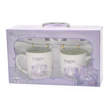 Подаръчен комплект - керамични чаши с чинийки и лъжички, декорирани с мечета