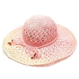 Лятна плетена шапка с голяма периферия