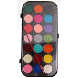 Комплект от 21 цвята водни бои за рисуване с четка в кутийка