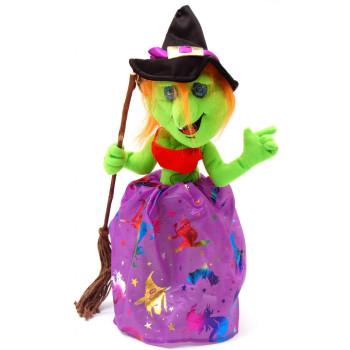 Забавна вещица с метла, подходяща декорация за Хелоуин