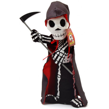 Декоративна фигурка - танцуващ скелет с коса и наметало