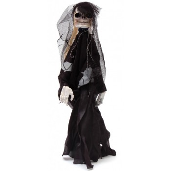 Музикална декоративна фигурка - танцуващ скелет със светещи очи