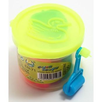 Мини пластелин - 12 броя в различни цветове - в пластмасова кофичка - 5см