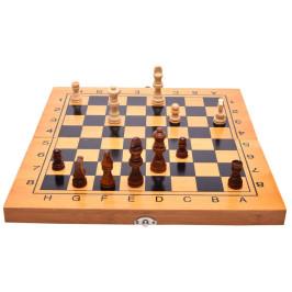 Комплект шах и табла в кутия, изработена от бамбук
