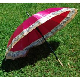 Красив дамски чадър с цветен принт, метален механизъм и ергономична дръжка - 55см