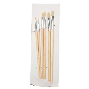 Комплект шест броя плоски четки с естествен косъм и дървена дръжка