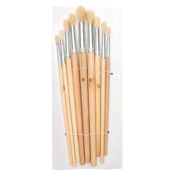 Комплект девет броя четки с естествен косъм и дървена дръжка