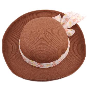 Красива дамска шапка с голяма периферия, декорирана с широка лента на финни цветя