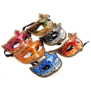Декоративна маска - тип домино с връзки, декорирано с брокат