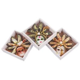 Декоративна фигурка маска, изработена от порцелан, текстил и естествени материали