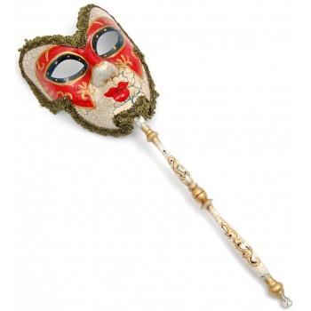 Декоративна фигурка маска на пръчка, изработена от порцелан