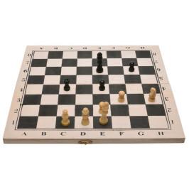 Комплект шах и табла в кутия, изработена от дърво
