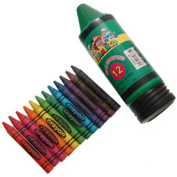 Комплект от 12броя цветни пастели в забавна PVC кутия