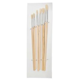 Комплект шест броя четки с естествен косъм и дървена дръжка