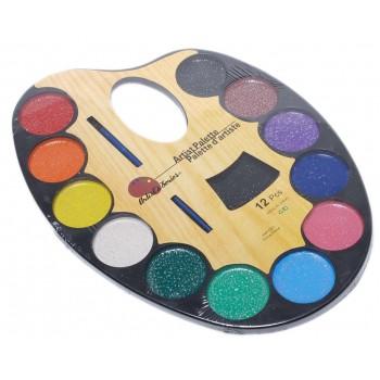 Палитра от 12 цвята водни бои с брокат и четка